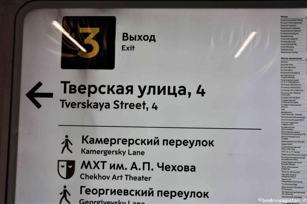 Indicazioni Metro Russia